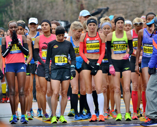 Lining-up with the world's elite at the 119th running of the Boston Marathon.